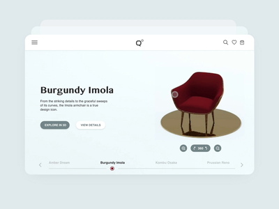 Burgundy Armchair rotation interaction clean ux ui armchair tablet furniture after effects adobe xd animation cinema4d 3d animation