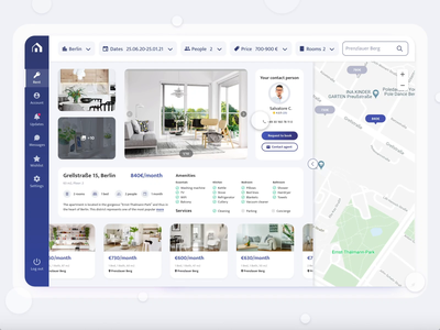 The Real Estate App clean ui icons dashboard app navigation menu dashboard design book search filters map real estate appartments rental app dashboard ui clean ui ux interaction animation adobe xd