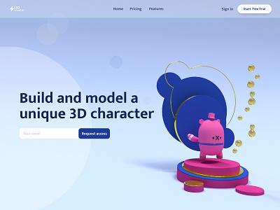 3D matter - Build unique characters design adobe xd rendering 3d landing page clean design ux design ui design landing page cinema 4d