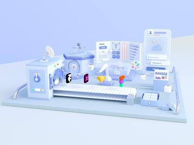 Design System adobe xd design illustraion mobile app icons button octane render framer sketch xd figma colour octane cinema4d c4d ui factory design system 3d
