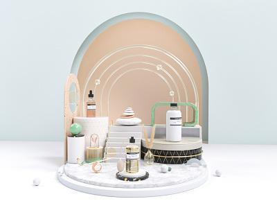 3d Beauty scene scene packaging cosmetics beauty cinema 4d c4d branding 3d model octane render 3d ui