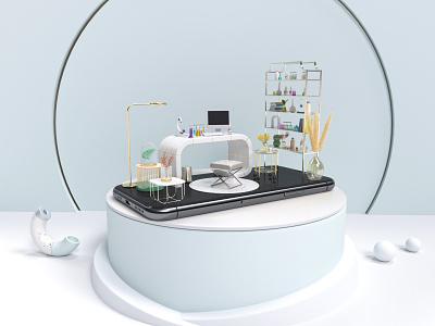 3d Phone Beaty Lab scene stage abstract cosmetics laboratory beauty 3d modeling octane render branding cinema 4d mobile app c4d 3d clean design ui