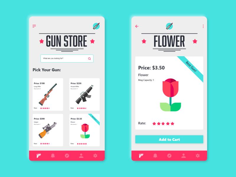 Gun Store art vector website 2d minimal logo flat danialnazemi app icon typography branding ux ui illustration design