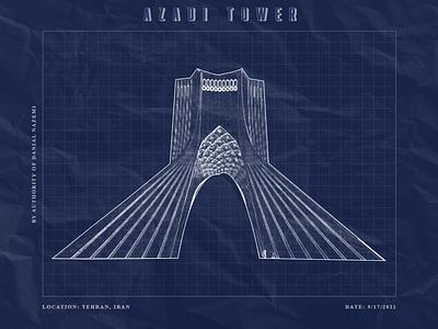 Azadi Tower - Blueprint tehran textures 2d uiux blueprint photoshop minimalisim app typography graphic design 3d branding ui logo graphic illustration danialnazemi vector flat design