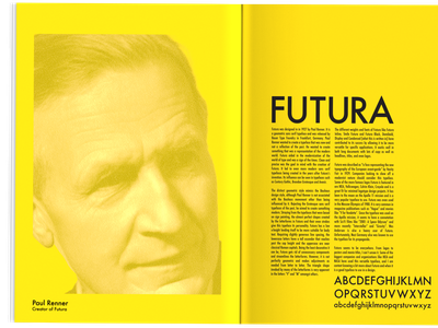 Futura Essay Magazine Ad black and yellow advertisement typography design