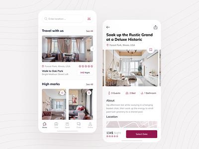 Rent Estate - App ux ui flat apartment dashboard real estate rent property house room design hotel guest estate toglas booking app