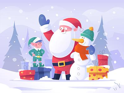 Santa Claus and His Friends snowman elf santa claus santa vector illustration design mood new year 2020 happy new year