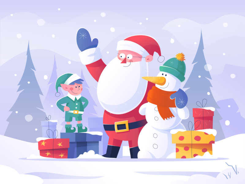 Santa Claus and His Friends snowman elf santa claus santa vector illustration design mood new year 2020 happy new year