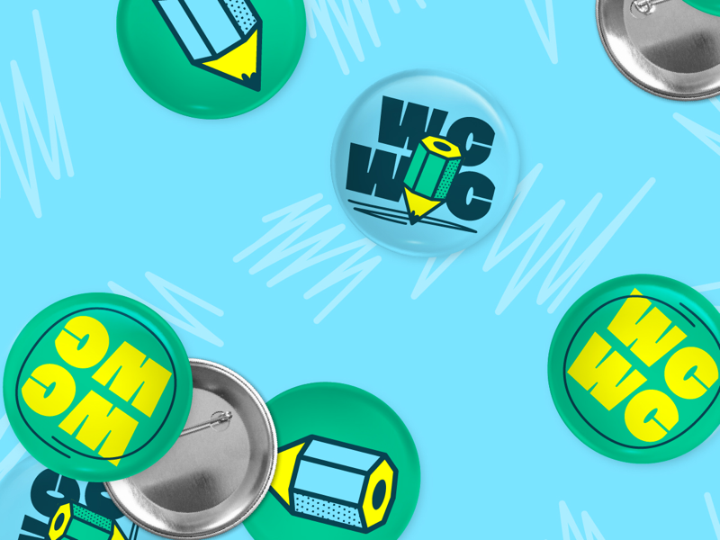 Washtenaw County Writing Center Buttons neon pins brand identity pencil logo branding buttons