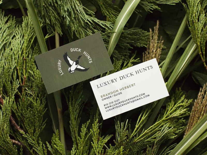 Luxury Duck Hunts – Business Cards duck hunt ducks logo branding hunting business card
