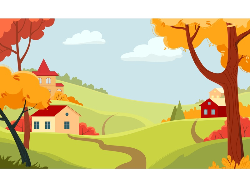 Autumn landscape with village and colorful trees. autum landscape vector illustration