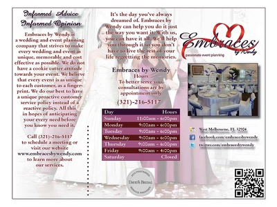 Embraces by Wendy Brochure brochure event planning marketing design markappeal