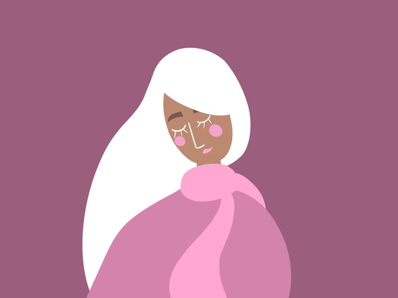 The Pink Scarf elegant trendy vectors woman illustrations flat design exploration character