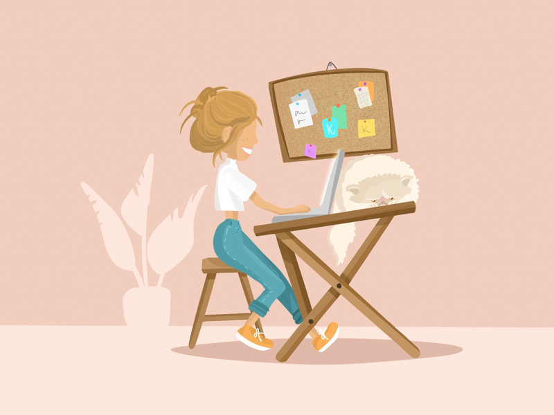 Freelancer woman girl vector illustration millennial freelance persian cat designer