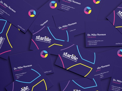 Starlite Chiropractic Business Cards branding color stationery chiropractic injury care business cards brand identity graphic design