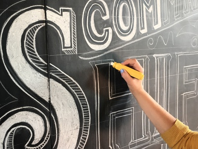 AIGA Louisville Design Week Kickoff typography chalk art letters lettering inspirational chalk lettering hand lettering hand drawn chalkboard drawing cursive calligraphy