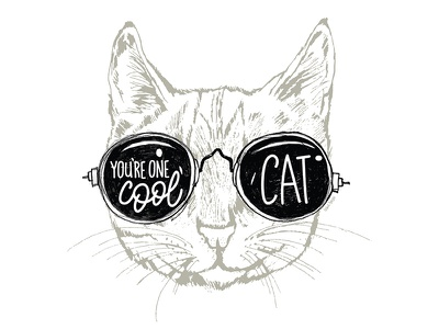 One Cool Cat kitten cat pen and ink drawing illustration typography art hand lettering