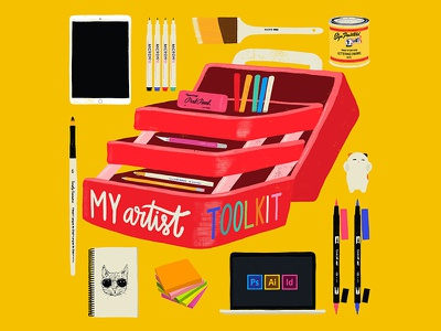My Artist Toolkit sticky notes tombow china marker ipad pro xacto macbook pro cat pencil eraser artist toolkit tools pens paint brush adobecc drawing design illustration hand lettering