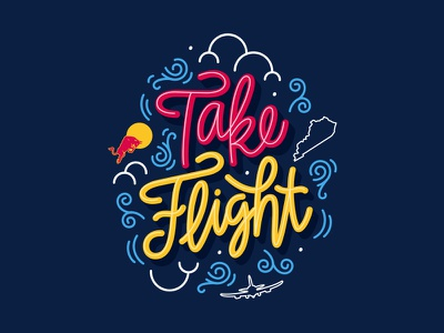 Red Bull: Take Flight clouds bull kentucky airplane take flight red bull design calligraphy illustration typography hand lettering