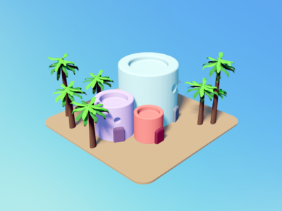 My Little Island 🌴 ux product dribbbleweeklywarmup dribbble best shot isometric art isometric isometric design gradient 3ddesign blender3d cinema4d 3drender render productdesign 3d 3dmodeling