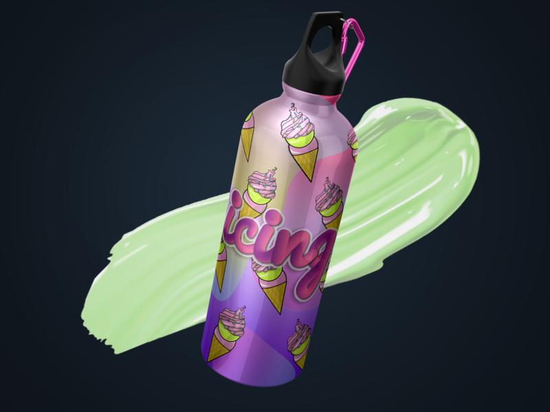 WATCH THE ICING ice cream flask bottle 🍦💖 bottle design 3d model ui 3d 3dmodeling productdesign graphic design product ux logo design packaging illustration branding mockup