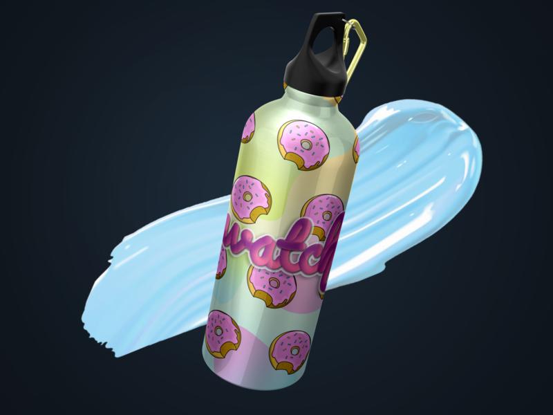 WATCH THE ICING donut flask bottle 🍩💖 icing packagingdesign packaging logo vector ux illustration product ui graphic design branding productdesign 3d 3dmodeling