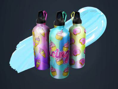 💖WATCH THE ICING flask bottles💖 logo design logo illustration packaging mockup product ui graphic design branding productdesign 3d 3dmodeling