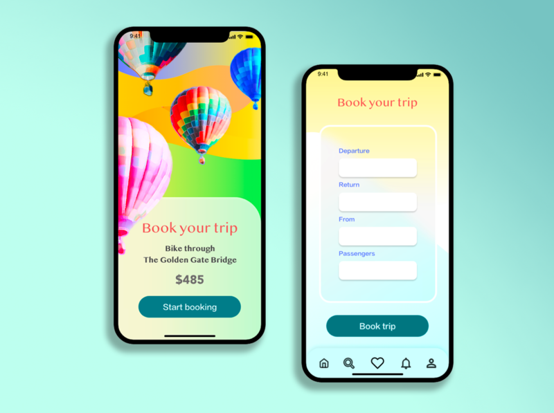 Travel App Concept- PART 3 Booking gradient vector booking vacation travel app uiux illustration packaging mockup product ui graphic design branding productdesign 3d 3dmodeling