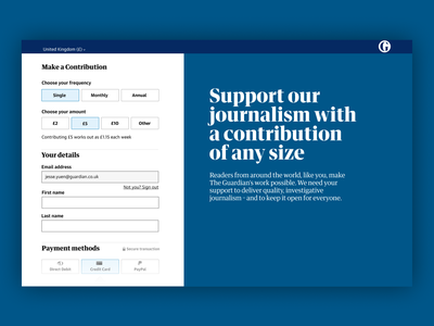 Make a Contribution blue accessibility journalism uiux interface the guardian