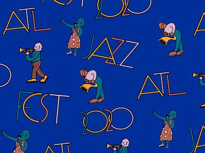 Atlanta Jazz Fest 2020 atlanta festival branding saxophone jazz illustration typography