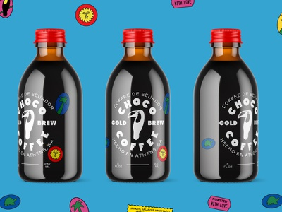 Choco Coffee 2 stickers toucan cold brew coffee typography branding type