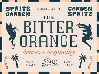The Bitter Orange florida italian alligator gator illustration hotel branding type
