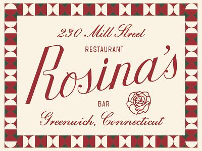 Rosina's 🌹 italian restaurant food typography branding type