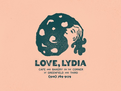 Love, Lydia cookie bakery cafe food restaurant typography branding illustration type