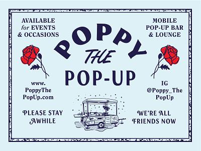 Poppin' camper bar booze branding illustration logo type