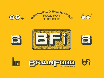 BrainFood Industries 2 food glasses branding typography logo illustration type