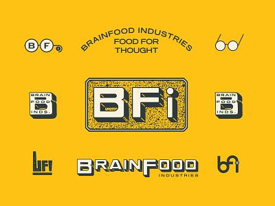 BrainFood Industries 2 food glasses branding typography logo illustration type