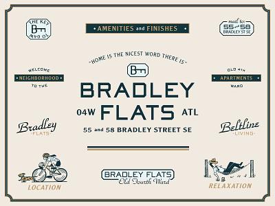 Bradley Flats apartment beltine hammock bicycle bike atlanta branding typography logo illustration type