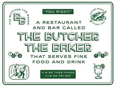 The Butcher The Baker cocktail baker butcher steak branding restaurants restaurant branding