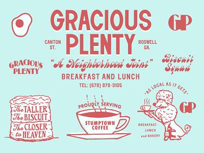 Gracious Plenty coffee biscuit poodle branding type restaurant branding