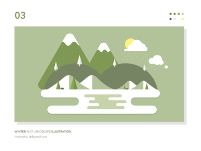 Winter Flat Landscape Illustration