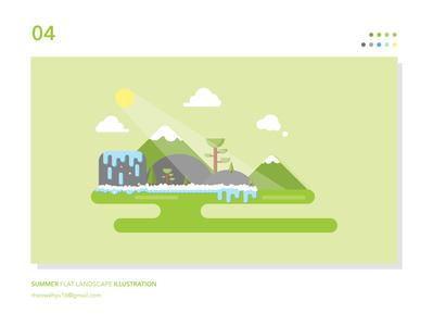 Summer Flat Landscape Illustration