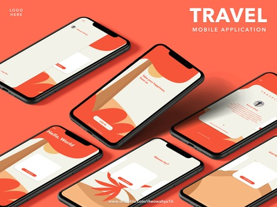 Travel Mobile App Designed Flat Style
