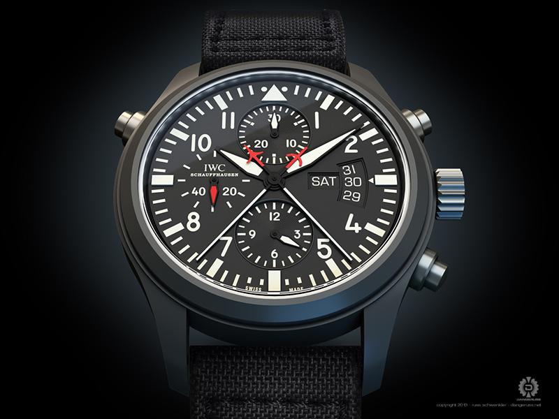 IWC Top Gun Doppelchronograph 3d wristwatch watch illustration