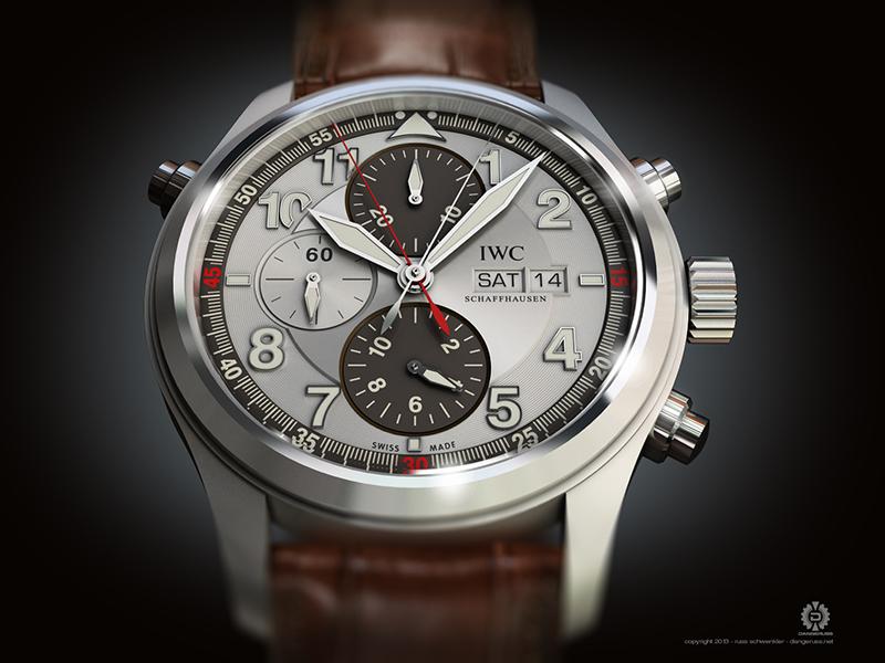 IWC Spitfire Doppelchronograph 3d wristwatch watch illustration