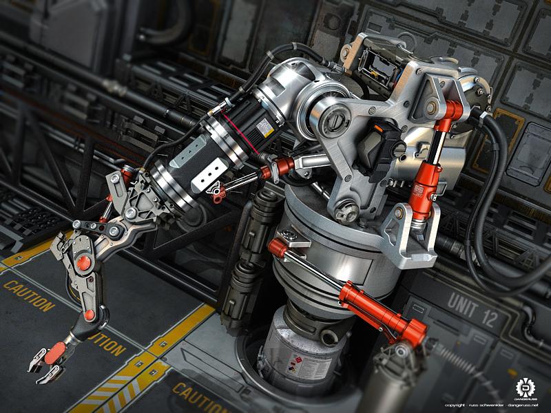 Arm realism 3d mecha sci-fi