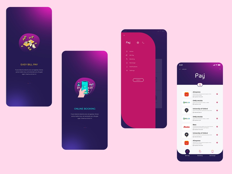 Bill pay, Booking & Recharge mobile application Ui ui  ux design mobile app design ux design uidesign