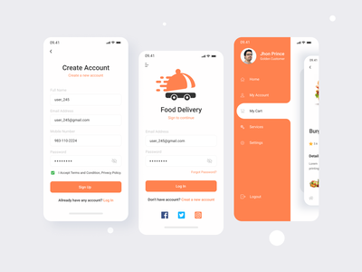 Food Delivery App Concept delivery truck delivery app food store food shop food app fooddeliveryservice food service minimal fooddeliveryapp food delivery food mobile app design mobile design mobile app mobile ui design ui trend design 2020