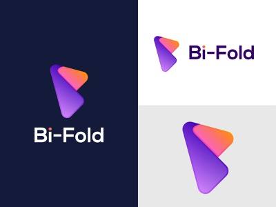 Bi-Fold - logo design branding design minimalist flat b letter brand design abstract vector app icon lettering gradient logo modern brand brand identity branding creative logodesign logotype logo
