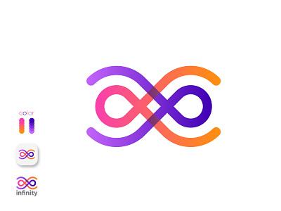 infinity branding design gradient graphic design 3d letter pro brand identity app icon logodesign logo tech branding brand minimalist flat modern creative abstract infinity